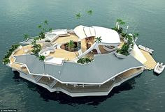 Designed by an Austrian company the Osros floating island includes six luxury double bedrooms, with space for 12 residents and four staff members. The boat is priced at £3 million