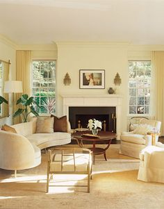 Sheers In The Living Room Are Same Color As Walls For A Tranquil