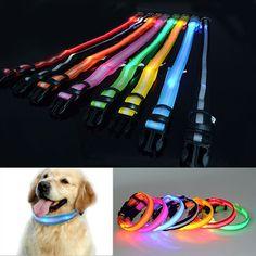Adjustable LED Flashing Pets Neck Collar Necklet Lighting Dog Collar Smal Fluorescent Decoration 8 Colors S-XL