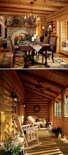 Luxury Log Home More Dining Room Perfect Porch Dream Home Gorgeous Log