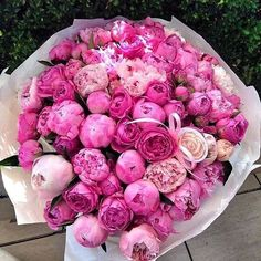 A pretty bouquet of pink peonies. Flowers Nature, My Flower, Fresh Flowers, Beautiful Flowers, Flower Power, Flower Girls, Beautiful Things, Pink Rose Bouquet, Luxury Flowers