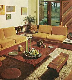 A bit more colour would be nice. And the carpet: OMG! Not for me... :D  vintage interior design decoration 60s