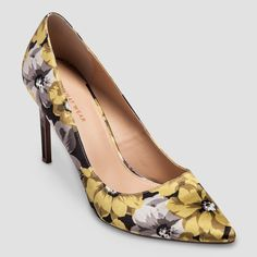 Women's Who What Wear Ally Printed Satin Pumps - Yellow 8