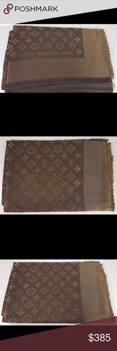 Louis Vuitton Stole Monogram Brown Lurex Louis Vuitton Stole Monogram Brown Lurex. Made in Italy. 47% silk, 26% viscose, 17% wool and 10% polyester. Louis Vuitton Accessories Scarves & Wraps