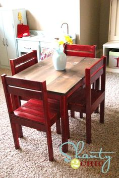kids playroom table and chairs tutorial Kids Play Table, Kids Table And Chairs, Kid Table, Toddler Table, Toddler Play, Furniture Projects, Home Projects, Upcycled Furniture, Furniture Plans