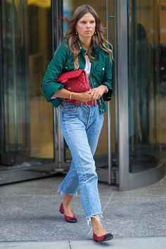 30+ Outfits We Spotted Outside The Victoria's Secret Casting Call #refinery29  http://www.refinery29.com/victorias-secret-angel-model-off-duty-street-style#slide-33  Caroline BraschHey, green and red actually doesn't look so spirited for once. That, or someone's ready for Christmas....