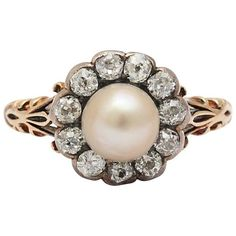 Preowned Late Victorian Pearl, Diamond Cluster Ring ($2,250) ❤ liked on Polyvore featuring jewelry, rings, multiple, cluster rings, diamond cluster ring, victorian pearl ring, pearl ring and white pearl ring