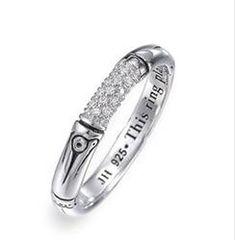 John Hardy 'Bamboo' Slim Pave Diamond Ring