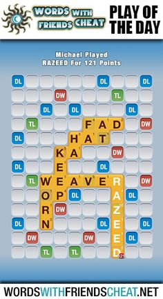 Sequester combined a lax play by her opponent with the perfect letters to hook the word WEAVER and drop RAZEED all the way down the board to the Triple Word score. She hit the Triple Letter tile with the Z, which blew the play up to a hefty 121 points. #wordswithfriends #pod #playoftheday