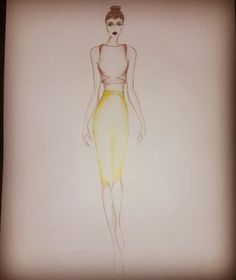 Fashion sketch high waist skirt and crop top