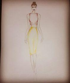 Fashion sketch high waist skirt and crop top