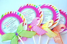 Lollipop Invitations Candyland Lollipop by thepaperkingdom on Etsy, $38.00