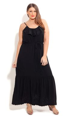 City Chic EMBROIDERED LONG BEACH DRESS-Women's Plus Size Fashion