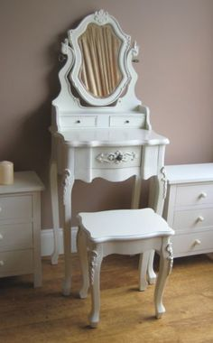 Antique white petite french dressing table and stool  Would look good in brown too!