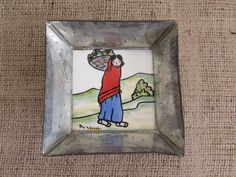 Hand Painted Tile Hammered Metal Tray, Hammered Metal Tray with Hand Painted Tile, Woman With Basket Hand Painted Tile Box, Metal Tile Box by OpenTwentyFourSeven on Etsy