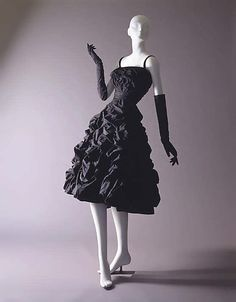 """The ultimate little black dress! Christian Dior 1948 French wool and silk """"Diamant Noir' vintage dress"""