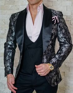 Leave the biggest statement without saying anything at all with this epic bold piece! Get yours today. #sebastiancruzcouture Suit Fashion, Stylish Mens Fashion, Fashion Outfits, Queer Fashion, Suit And Tie, Wedding Suits, Tuxedo Suit, Tuxedo Jacket, Mens Suits