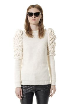 Cashmere Sweater with intricate Knit Sleeve Detail