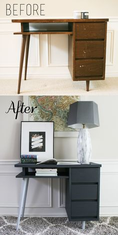 The How-To Gal: Mid-Century Modern Desk Makeover – Desk Ideas Refurbished Furniture, Retro Furniture, Repurposed Furniture, Desk Makeover, Furniture Makeover, Mid Century Modern Desk, Diy Furniture Projects, Furniture Movers, Diy Desk