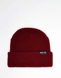 Bonnet par HUF Fabriqué en maille côtelée Bordure à revers Étiquette logo Lavage à la main 100% acrylique