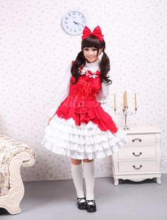 Cotton Red Ruffles Sweet Lolita Dress - Lolitashow.com