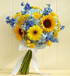Country #Wedding Sunflower Mixed Bouquet- medium sunflowers, blue delphinium, blue hydrangeas, yellow Gerbera daisies, and more, bound with a white double satin ribbon $50.00- $135.00