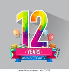 12 Years Anniversary celebration logo, 12th Anniversary celebration, with gift box and balloons, colorful polygonal design. - stock vector