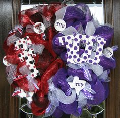 Deco Mesh House Divided TCU/TEXAS TECH Wreath. $125.00, via Etsy.