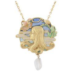 Art Nouveau Plique a Jour Enamel, Gold and Freshwater Pearl Pendant
