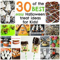 30 of the BEST Easy Halloween Treats for Kids! Halloween Bark, Halloween Class Party, Halloween Treats For Kids, Halloween Chocolate, Halloween Goodies, Cute Halloween, Halloween Stuff, Halloween Cupcake Toppers, Ghost Cookies