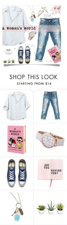 """""""A Woman's World"""" by linkfari ❤ liked on Polyvore featuring Sans Souci, Olympia Le-Tan, Converse and Disney"""