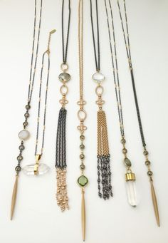 Mixed metal one of a kind necklaces by Lisa Jill Jewelry. For purchasing email… Tassel Jewelry, Bohemian Jewelry, Crystal Jewelry, Beaded Jewelry, Vintage Jewelry, Jewellery, Mixed Metal Jewelry, Fine Jewelry, Jewelry Making