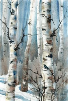 New Daily painting Krähen im Winter Aspen Trees von wintercalm - Aquarell Watercolor Trees, Watercolor Landscape, Landscape Art, Landscape Paintings, Watercolor Paintings, Landscapes, Painting Trees, Watercolor Water, Acrylic Paintings