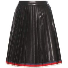 Gucci Pleated Leather Skirt ($3,500) ❤ liked on Polyvore featuring skirts, bottoms, black, leather skirt, gucci, real leather skirt, knee length pleated skirt and gucci skirt