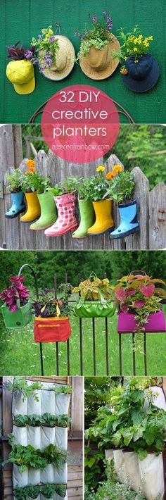 35 Creative DIY Planter Tutorials ( How To Turn Anything Into A Planter! ) 32 most creative and unique planter tutorials! How to make your own plating containers from from up-cycled and re-purposed objects and materials! Diy Garden, Garden Crafts, Garden Projects, Garden Art, Garden Design, Garden Tips, Garden Landscaping, Wood Planters, Flower Planters