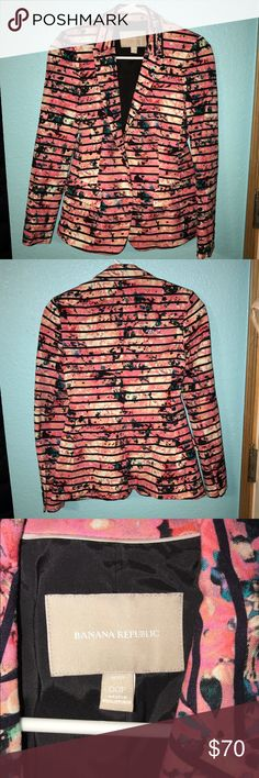 Banana Republic Black Strips Floral Brazer This is a gorgeous Floral and black striped blazer. It is in very good condition,  just like new! Quality is amazing. Banana Republic Jackets & Coats Blazers