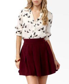 Satin Bird Print Shirt & burgundy skirt