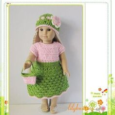 Pattern in PDF  crocheted doll clothes dress for por LilyKnitting