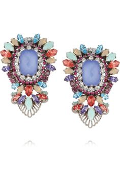 Erickson Beamon | Modern Moghul gunmetal-plated Swarovski crystal clip earrings | NET-A-PORTER.COM