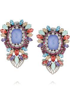 Erickson Beamon Modern Moghul gunmetal-plated Swarovski crystal clip earrings NET-A-PORTER.COM