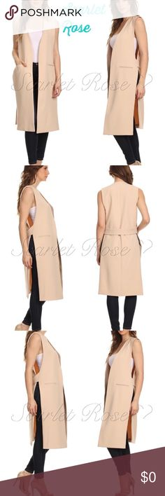 Light Taupe/Beige Long Open Vests These premium, high quality light taupe/beige vests have been all the rage in my work in fashion and in my personal business. This can turn an ordinary outfit into something spectacular! These long vests feature side slits all the way up, functioning pockets, & a band across the back. They flow beautifully when you walk and can be paired with so many outfits. The last 3 pics show the same vest in white being sold at department stores. PRICE IS FIRM UNLESS…