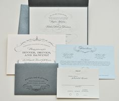 1943 Wedding Invitation Pocketfold - Ivory, Silver, Peachy Pink and Pewter Grey (customizable). $7.99, via Etsy.