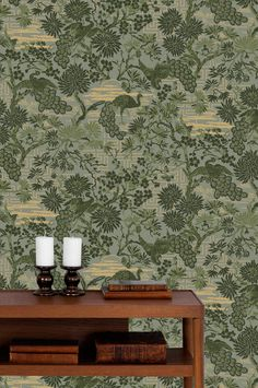 A re-make of an old wallpaper. Old Wallpaper, Pattern Wallpaper, Home Crafts, Arts And Crafts, Green Lounge, Green Pattern, Living Room Bedroom, Surface Design, Print Patterns