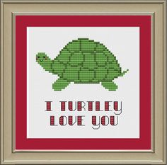 I turtley love you: cute turtle cross-stitch pattern