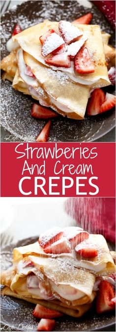 These Crepes….these crepes! These Crepes with their hint of Vanilla…and those Strawberries with the hint of Orange liqueur, and that cream with a hint of love. Crepe Recipes, Brunch Recipes, Dessert Recipes, Dessert Food, Dinner Recipes, Breakfast Dishes, Breakfast Recipes, Mexican Breakfast, Pancake Recipes