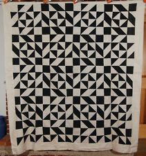 AMAZING Vintage 1890's Black & White Broken Dishes 4-Patch Antique Quilt Top!