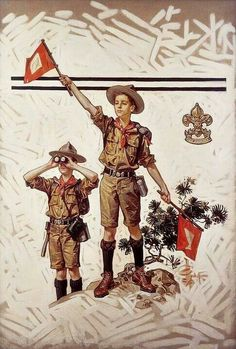 Scouts Signaling, 1911 Cover illustration for The Saturday Evening Post, September 1911 Collection of the National Scouting Museum Artist: JC Leyendecker Norman Rockwell Art, Norman Rockwell Paintings, American Illustration, Illustration Art, Jc Leyendecker, Scouts Of America, Joseph, Saturday Evening Post, Eagle Scout