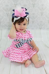 Hot Pink Navy Chevron Baby Infant Dress