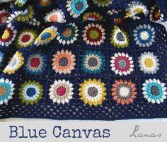 Blue Canvas Blanket - Lanas de Ana met granny tuto