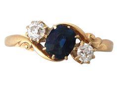 '0.98 ct Sapphire and 0.40 ct Diamond Twist Ring - Antique'…
